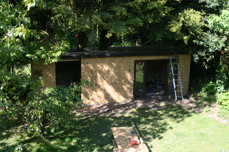 Once the frame was done, the roof was put on, felted and the OSB boards covered the timber frame.